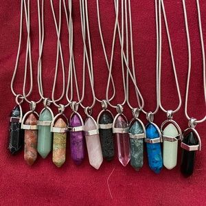 Gemstone Pendant on a silver-plated chain